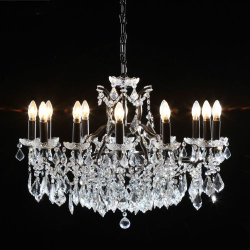 Antique French Cut Glass Black Chandelier 12 arm